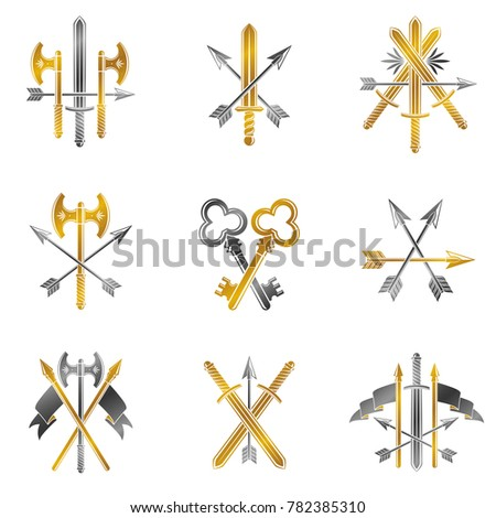 Vintage Weapon Emblems set. Heraldic Coat of Arms, vintage emblems collection.