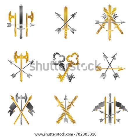 Vintage Weapon Emblems set. Heraldic Coat of Arms, vintage emblems collection.