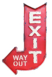 Vintage weathered outdoor red metal exit / way out sign isolated on a white background