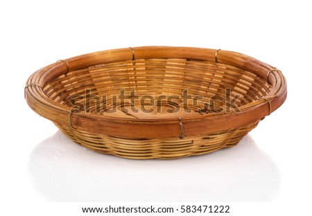 vintage weave wicker basket isolated on white background\r