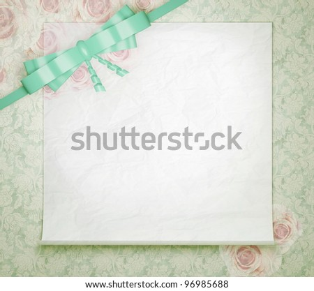 stock photo Vintage wedding background with roses floral green wallpaper