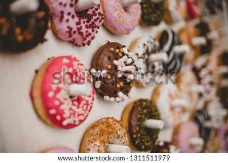 Vintage Wedding Decoration Donut Wall Sprinkles Rosa Rose Chocolate White Modern Boho Chic
