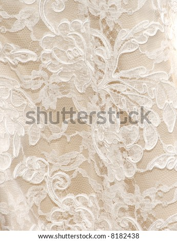 Vintage wedding dress lace in white for background texture