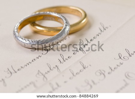 Vintage Wedding Invitation and Rings