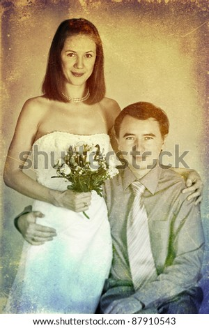 Vintage wedding photo, art texture
