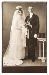 vintage wedding photo. just married couple circa 1910. nostalgic picture