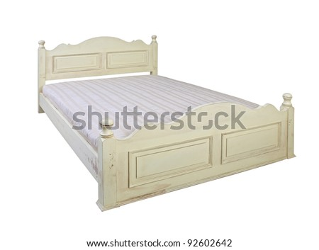 vintage white bed isolated on white background