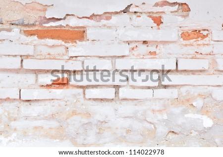 Vintage white brick wall - stock photo