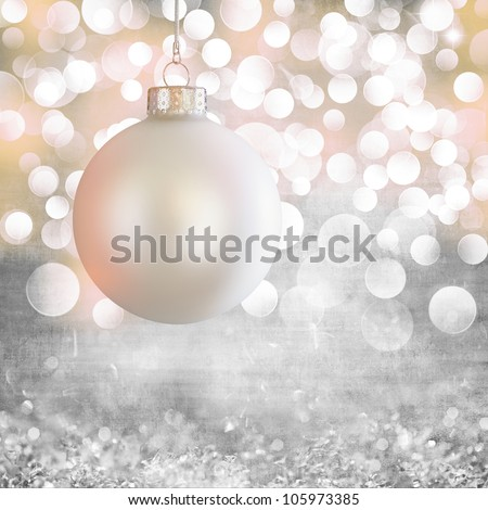 Vintage White Christmas Ball Ornament Over Elegant Grunge Grey, Purple, Pink & Gold Christmas Light Bokeh & Crystal Background