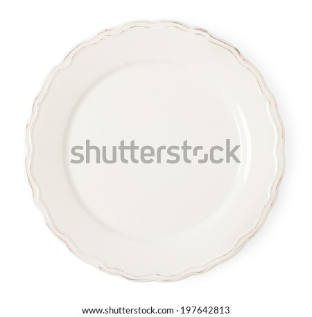 Vintage white empty plate on white background