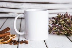 Vintage white mug mockup