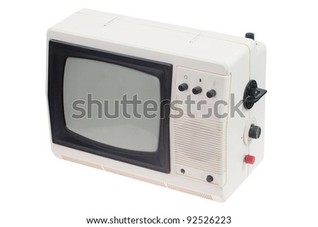 Vintage white portable TV set isolated