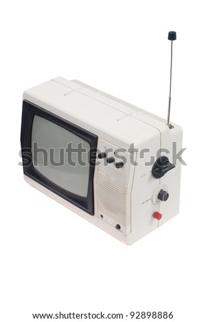Vintage white portable TV set with antenna isolated