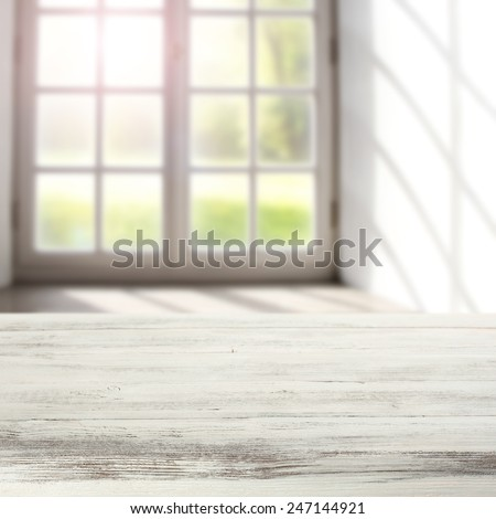 vintage white table top of free space and background of window