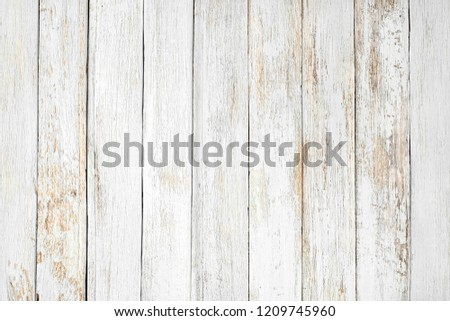 Vintage white wood background - Old weathered wooden plank painted in white color. - Shutterstock ID 1209745960