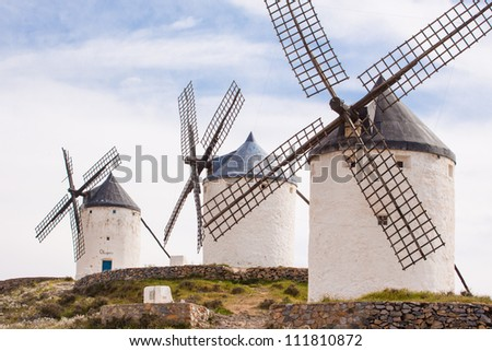 Vintage widnmills in the mainland of La Mancha, Consuegra, Spain.