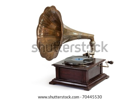 Vintage wind-up gramophone record player #70445530