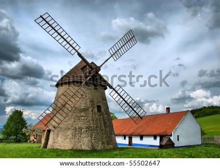 Vintage windmil in Kuzelov, southern Moravia, Czech Republic