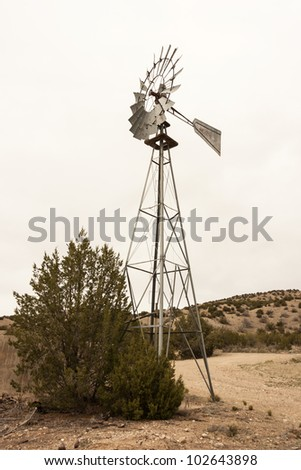 Vintage windmill for water pumping in landcape