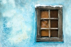 Vintage window on a blue wall - Christmas decoration