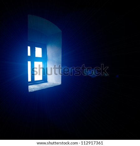 Vintage window with blue light, indoors view