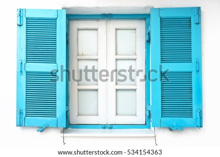 vintage window with blue...