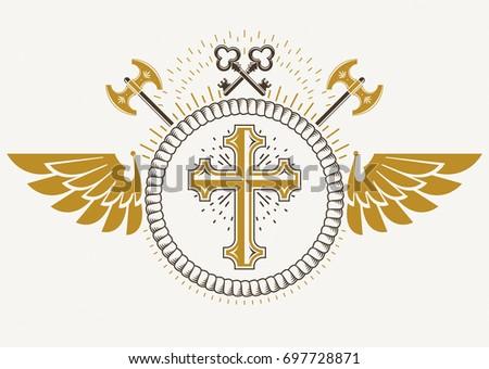 vintage winged emblem created...