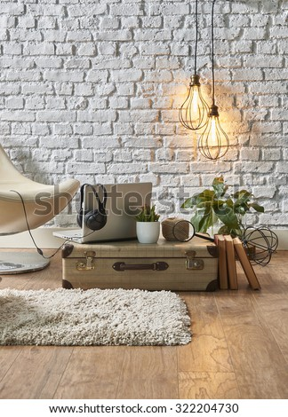 vintage winter with modern interior style and white chair  #322204730