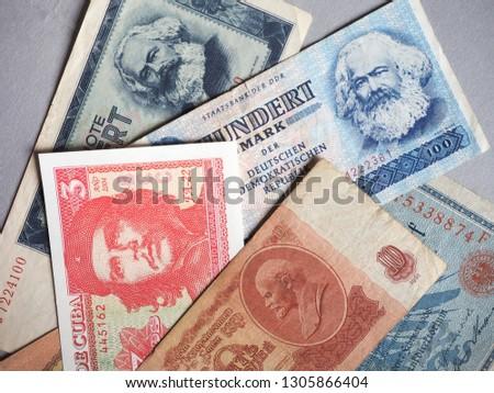 Vintage withdrawn banknotes of Soviet Union, German Democratic Republic, German Empire and Cuba
