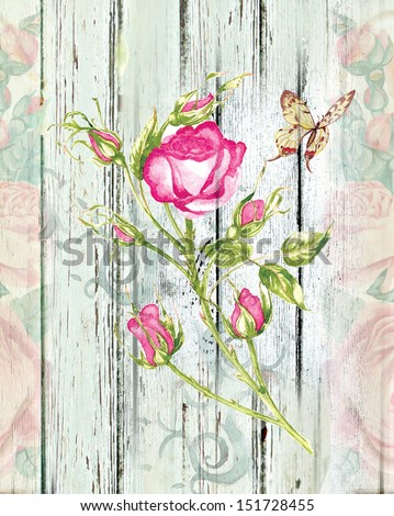 vintage wood background with floral motives