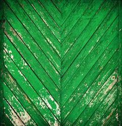 Vintage wood background with green peeling paint