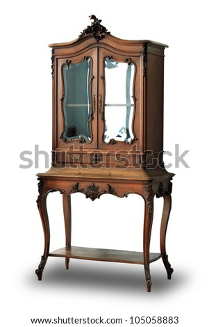 Vintage wood cabinet isolated on white background, with clipping path