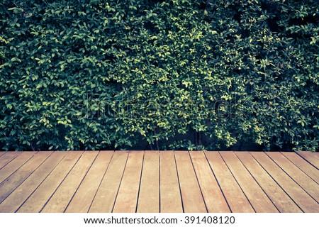 vintage wood floor in a garden