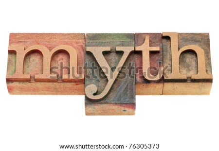 vintage wood printing blocks spelling word myth, isolated on white