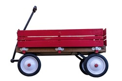 Vintage Wood Rail Red Wagon on White Background