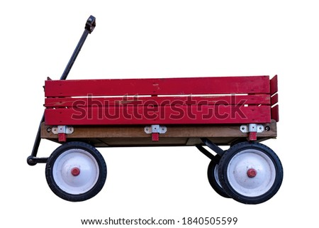 Photo of  Vintage Wood Rail Red Wagon on White Background
