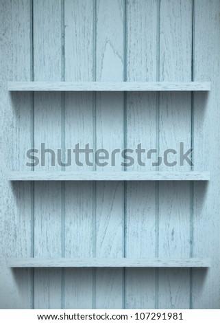 Vintage wood shelf - stock photo
