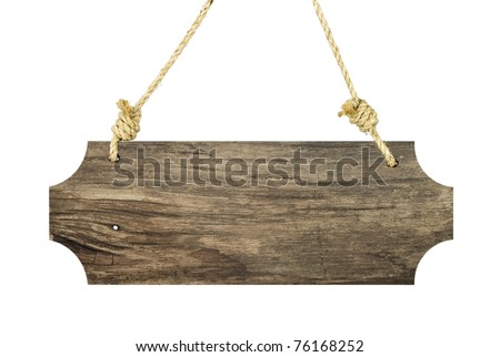 Vintage wood sign isolated on white