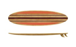 Vintage wood surfboard isolated on white background