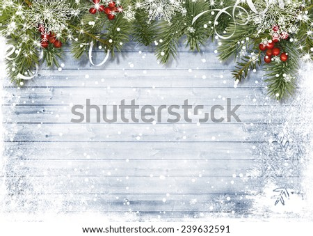 Vintage wood texture with snow, holly and firtree #239632591