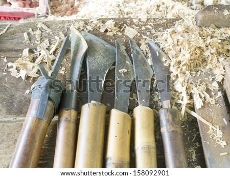 Vintage Wood-turning tools used with turning wood on a lathe.