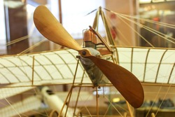Vintage wooden airplane model by daVinci's sketches