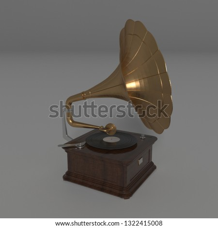 Vintage Wooden and Brass Gramophone #1322415008