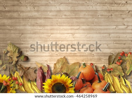 Vintage Wooden Background With Autumn Leaves Pumpkins Sunflowers Rowan The Border Of