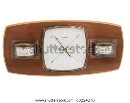 Vintage wooden barometer on pure white background