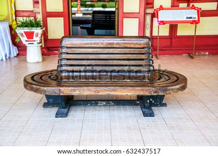 vintage wooden bench at railway ...
