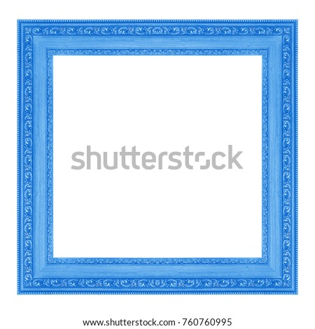 Vintage wooden blue frame isolated on white background #760760995