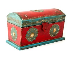 Vintage wooden casket from India