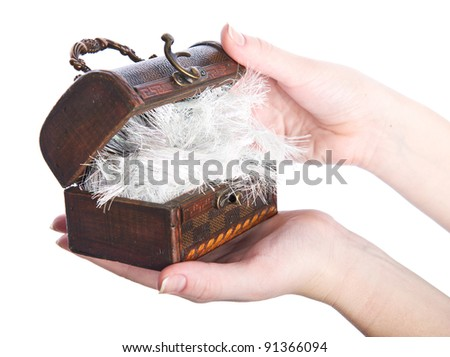 Vintage wooden chest in woman's hands, isolated on white