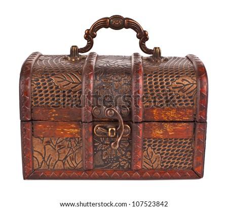 vintage wooden chest on white background